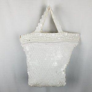 Bebe bag white large sequin hand/shoulder/tote